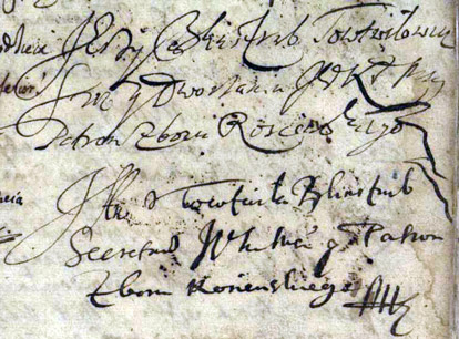 Signatures of King's Wladyslaw Vasa secretary and King's John Casimir royal man George Blinstrub de Towtwil and Secretary of the King John Casimir Vasa, John Blinstrub de Towtwil, on document of Lithuanian Evangelical Sinode. 1651.06.06