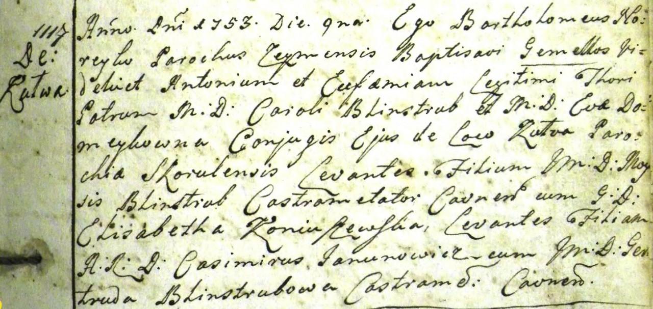 Karolio-Blinstrubo-ir-Ievos-Domeikaites-Blinstrubienes-dvyniu-Antano ir Eufemijos-krikstas-175309 Zeimiu baznycia